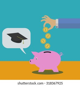 Saving in a piggy bank for college vector illustration