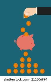 saving in piggy bank flat design, vector