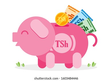 Saving Tanzanian Shilling coin and money to piggy bank vector illustration flat design. Economy and financial concept element.  Can be used for web and mobile, infographic and print.