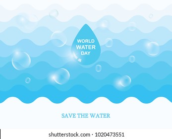 Saving water and world environmental protection concept. World water day. Card for your design.Water droplets with the background are waves of blue tones.