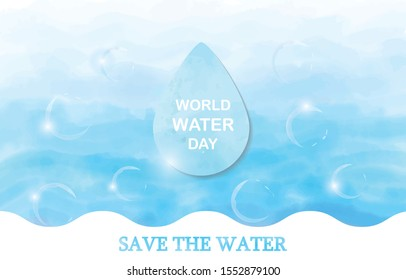 Saving water and world environmental protection concept. World water day. Card for your design.Water droplets with the background are waves of blue tones with watercolor concept.
