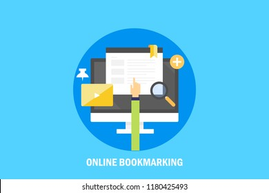 Saving web pages online, Online bookmarking, Social bookmarking flat vector illustration with icons