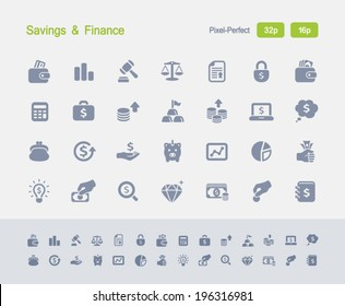 Savings & Finance Icons. Granite Icon Series. Simple glyph stile icons optimized for two sizes.