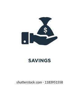 Savings icon. Black filled vector illustration. Savings symbol on white background. Can be used in web and mobile.