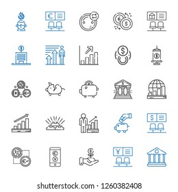 savings icons set. Collection of savings with bank, investment, exchange, piggy bank, profits, gold, funds, saving. Editable and scalable savings icons.