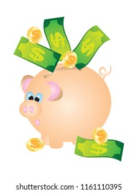 Savings with Piggy Bank Cash Bills Notes Currency Coins Color vector Illustration