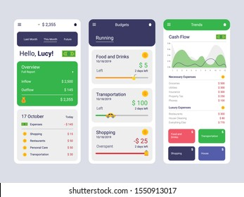 Savings Tracker Concept UI, UX, GUI screens and flat web icons for mobile apps, responsive app for money goals, budgeting finance, income and progress tracking