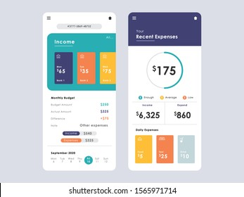 Savings Tracker Concept UI, UX, GUI screens and flat web icons for mobile apps, responsive app for money goals, finance, income and progress tracking