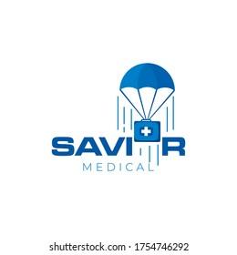 savior logo, creative word mark parachute vector