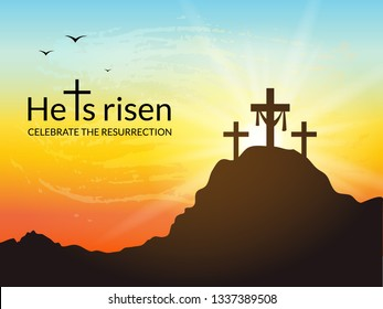 Savior's cross with sunrise scene. He is risen.