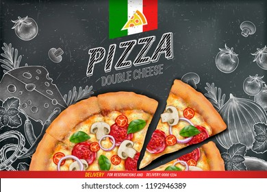Savoury pizza ads with 3d illustration rich toppings dough on engraved style chalk doodle background