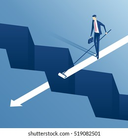 savvy businessman draws the roller path of the gap, employee finds a way to bridge the gap, business concept overcome the difficulties