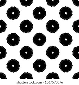 Saw Blade Icon Seamless Pattern, Circular Saw Icon Vector Art Illustration