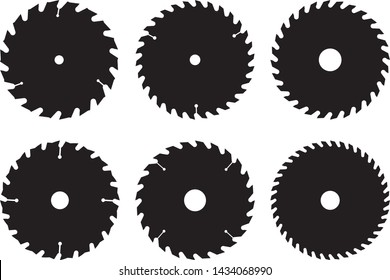 Saw blades for woodworking machine. Flat icons. Silhouette vector