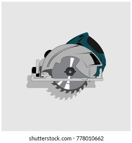 saw circular construction isolated icon, work equipment tool electric