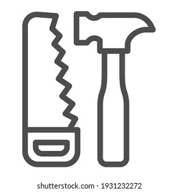 Saw and hammer line icon, house repair concept, carpentry tools sign on white background, Hand saw and hammer icon in outline style for mobile concept and web design. Vector graphics
