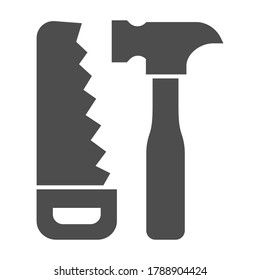 Saw and hammer solid icon, house repair concept, carpentry tools sign on white background, Hand saw and hammer icon in glyph style for mobile concept and web design. Vector graphics.