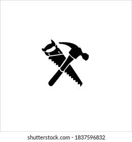 Saw and Hammer Symbol Logo. Vector Illustration.