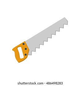 Saw icon, isolated on white background. Hand saw isolated, symbol. Vector illustration. Tools carpenter, repairmen. Vector illustration flat design.