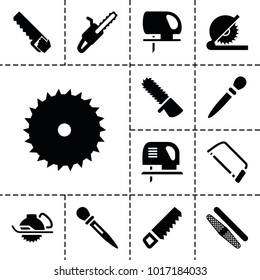 Saw icons. set of 13 editable filled saw icons such as nail sawing, saw, blade saw