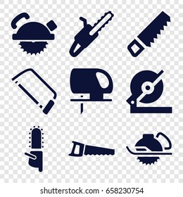 Saw icons set. set of 9 saw filled icons such as saw