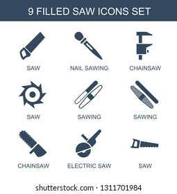 saw icons. Trendy 9 saw icons. Contain icons such as nail sawing, chainsaw, sawing, electric saw. saw icon for web and mobile.