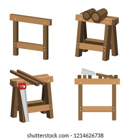 Sawhorses for Carpenters and Joiners with Wood and Saws. Saw on Trestle - Sawhorse Vector Illustration.