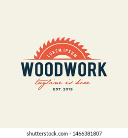 Sawmill emblem logo vector for carpentry, woodworkers, lumberjack, sawmill service.Isolated on white background