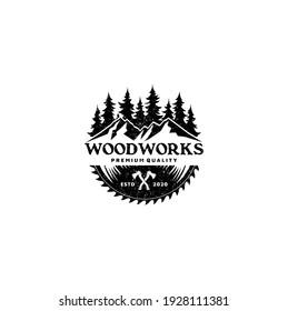 Sawmill Emblem Logo Vector for Carpentry, Woodworkers, Lumberjack, Sawmill Service