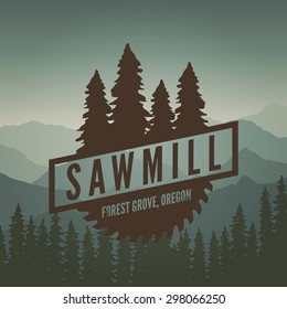 sawmill label on mountain background
