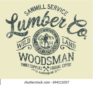 Sawmill service lumber company,  vector artworks for boy t shirt grunge effect in separate layer