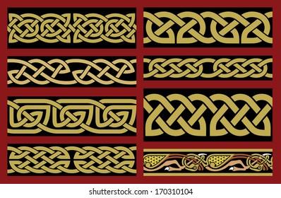 Saxon Borders Set. Celtic Design. Ocher on Black Background