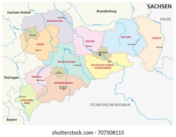Saxony administrative and political map in german language