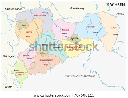 Saxony Administrative Political Map German Language Stock ...