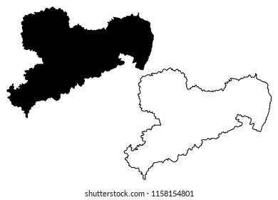 Saxony (Federal Republic of Germany, State of Germany, Free State of Saxony) map vector illustration, scribble sketch Saxony map