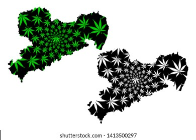 Saxony (Federal Republic of Germany, State of Germany, Free State of Saxony) map is designed cannabis leaf green and black, Saxony map made of marijuana (marihuana,THC) foliage,