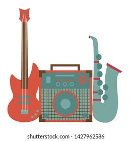 saxophone eletric guitar amplifier record festival music poster vector illustration