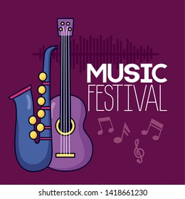 saxophone and guitar festival music poster vector illustration