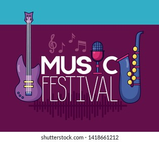 saxophone guitar microphone festival music poster vector illustration