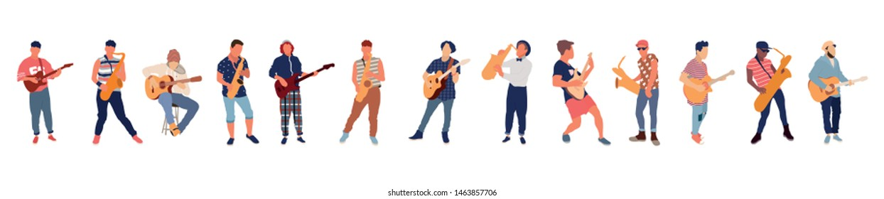 Saxophone and guitar player. Isolated flat illustration set - Vector