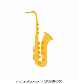 Saxophone icon. Musical instrument for jazz. Golden musical instruments concept. Classical music, jazz concert performance. Flat cartoon vector illustration isolated on white background.