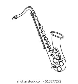 Saxophone icon in outline style isolated on white background. Musical instruments symbol stock vector illustration