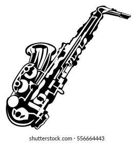 Saxophone isolated on white. Music instrument vector illustration.
