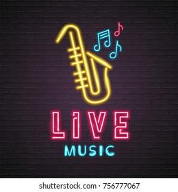 Saxophone Live Music Neon Light Glowing Vector Illustration Design