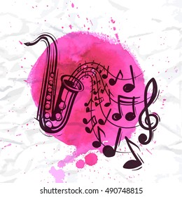 Saxophone music concept. Sketch style vector illustration on watercolor magenta background.