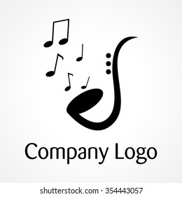Saxophone with music notations, for music, jazz, logo