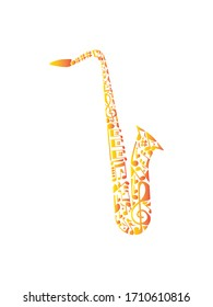 Saxophone musical instrument and music notes.Cartoon vector illustration isolated on a white background.