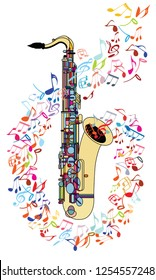 Saxophone and musical notes - vector illustration