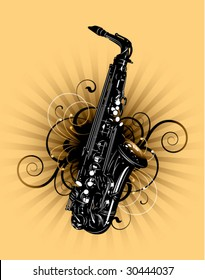 saxophone on a floral background