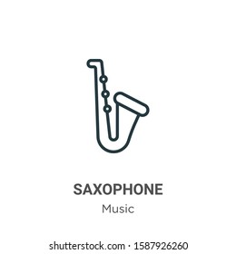 Saxophone outline vector icon. Thin line black saxophone icon, flat vector simple element illustration from editable music concept isolated on white background